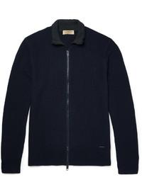 dunkelblauer Strick Pullover mit einem Reißverschluß von Burberry