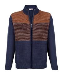 dunkelblauer Strick Pullover mit einem Reißverschluß von ROGER KENT