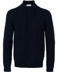 dunkelblauer Strick Pullover mit einem Reißverschluß von Salvatore Ferragamo