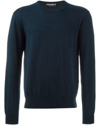 dunkelblauer Strick Pullover mit einem Rundhalsausschnitt