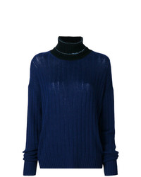 dunkelblauer Strick Rollkragenpullover von Prada