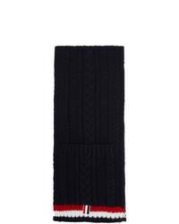 dunkelblauer Strick Schal von Thom Browne
