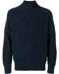dunkelblauer Strick Wollrollkragenpullover von Sacai