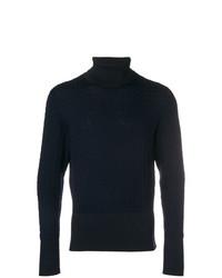 dunkelblauer Strick Wollrollkragenpullover von Thom Browne
