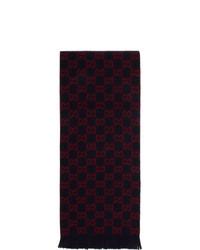 dunkelblauer und roter bedruckter Schal von Gucci