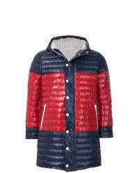 dunkelblauer und roter gesteppter Mantel von Thom Browne