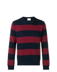dunkelblauer und roter horizontal gestreifter Pullover mit einem Rundhalsausschnitt