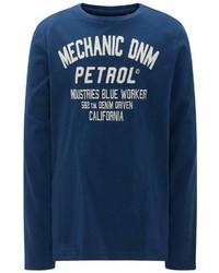 dunkelblauer und weißer bedruckter Pullover mit einem Rundhalsausschnitt von Petrol Industries