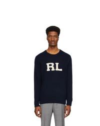 dunkelblauer und weißer bedruckter Pullover mit einem Rundhalsausschnitt von Polo Ralph Lauren