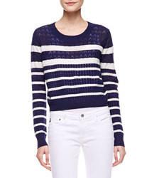 dunkelblauer und weißer horizontal gestreifter kurzer Pullover
