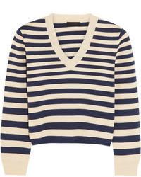 dunkelblauer und weißer horizontal gestreifter kurzer Pullover von J.Crew