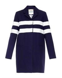 dunkelblauer und weißer horizontal gestreifter Mantel