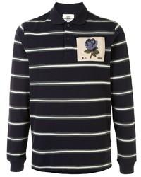 dunkelblauer und weißer horizontal gestreifter Polo Pullover von Kent & Curwen