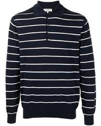 dunkelblauer und weißer horizontal gestreifter Polo Pullover von Man On The Boon.