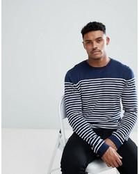 dunkelblauer und weißer horizontal gestreifter Pullover mit einem Rundhalsausschnitt von ASOS DESIGN