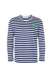 dunkelblauer und weißer horizontal gestreifter Pullover mit einem Rundhalsausschnitt von Comme Des Garcons Play