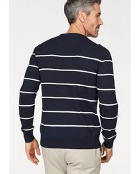dunkelblauer und weißer horizontal gestreifter Pullover mit einem Rundhalsausschnitt von Gant Rundhalspullover »Breton«
