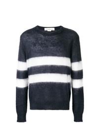 dunkelblauer und weißer horizontal gestreifter Pullover mit einem Rundhalsausschnitt von Golden Goose Deluxe Brand