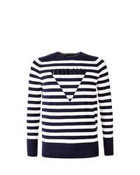dunkelblauer und weißer horizontal gestreifter Pullover mit einem Rundhalsausschnitt