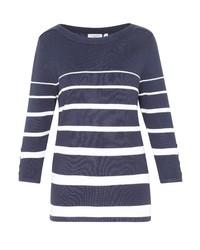 dunkelblauer und weißer horizontal gestreifter Pullover mit einem Rundhalsausschnitt von Hajo