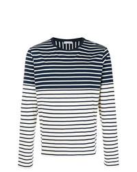dunkelblauer und weißer horizontal gestreifter Pullover mit einem Rundhalsausschnitt von JW Anderson