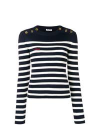 dunkelblauer und weißer horizontal gestreifter Pullover mit einem Rundhalsausschnitt von Miu Miu