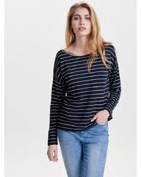 dunkelblauer und weißer horizontal gestreifter Pullover mit einem Rundhalsausschnitt von Only