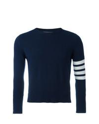dunkelblauer und weißer horizontal gestreifter Pullover mit einem Rundhalsausschnitt von Thom Browne