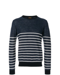dunkelblauer und weißer horizontal gestreifter Pullover mit einem Rundhalsausschnitt von Tod's