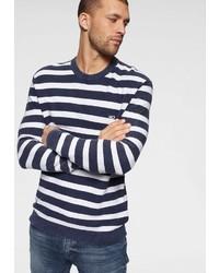 dunkelblauer und weißer horizontal gestreifter Pullover mit einem Rundhalsausschnitt von Tommy Jeans
