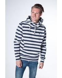 dunkelblauer und weißer horizontal gestreifter Pullover mit einem Schalkragen von Alife and Kickin