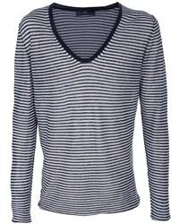 dunkelblauer und weißer horizontal gestreifter Pullover mit einem V-Ausschnitt