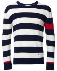 Dunkelblauer und weißer horizontal gestreifter Pullover mit Rundhalsausschnitt von GUILD PRIME