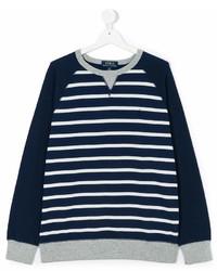 Dunkelblauer und weißer horizontal gestreifter Pullover