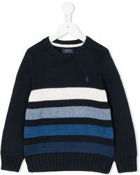dunkelblauer und weißer horizontal gestreifter Pullover von Ralph Lauren