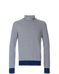dunkelblauer und weißer horizontal gestreifter Rollkragenpullover von Maison Margiela