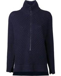 dunkelblauer und weißer Pullover mit einem Reißverschluß von 3.1 Phillip Lim