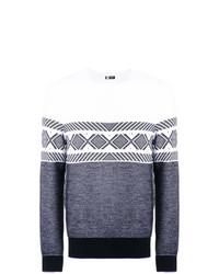 dunkelblauer und weißer Pullover mit einem Rundhalsausschnitt mit geometrischem Muster von Ermenegildo Zegna