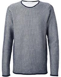 dunkelblauer und weißer Pullover mit einem Rundhalsausschnitt