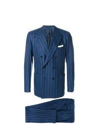 dunkelblauer vertikal gestreifter Anzug von Kiton