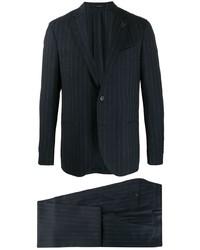 dunkelblauer vertikal gestreifter Anzug von Lardini