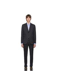 dunkelblauer vertikal gestreifter Wollanzug von Gucci