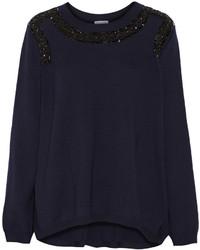 dunkelblauer verzierter Pullover mit einem Rundhalsausschnitt