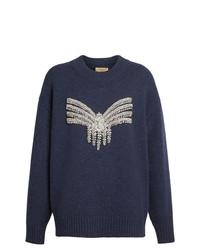 dunkelblauer verzierter Pullover mit einem Rundhalsausschnitt von Burberry