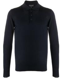 dunkelblauer Wollpolo pullover von Emporio Armani