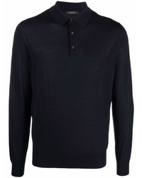 dunkelblauer Wollpolo pullover von Ermenegildo Zegna