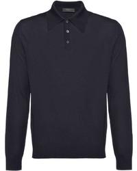 dunkelblauer Wollpolo pullover von Prada