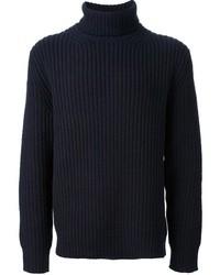 dunkelblauer Wollrollkragenpullover
