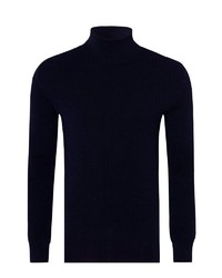 dunkelblauer Wollrollkragenpullover von Falke