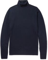 dunkelblauer Wollrollkragenpullover von John Smedley
